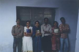 From left - Arun, Divya, Srividya, Vimal, Dhanya & Lijo in front of our classroom