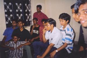 Salesh, Pramod, Kiran, Padmanabhan, Sudheer, Shakeel, Vimal & Sreekanth watching television