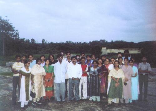 Most of the classmates with our HOD, Mr. Prabhakar, our 5th sem class tutor, Mr. Somasundaram and three other staff from left.